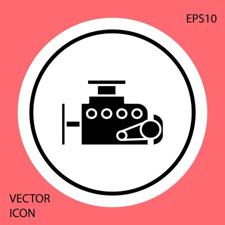 Black Car engine icon isolated on red background. White circle button. Vector Illustration