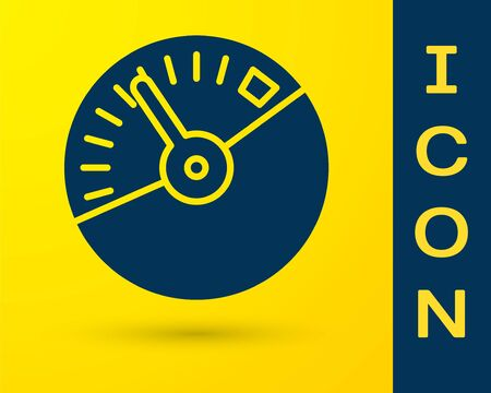 Blue Speedometer icon isolated on yellow background. Vector Illustration