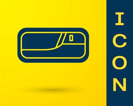 Blue Car door handle icon isolated on yellow background. Vector Illustration Standard-Bild - 138327701