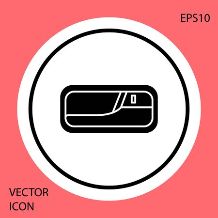 Black Car door handle icon isolated on red background. White circle button. Vector Illustration Standard-Bild - 138327703