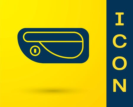 Blue Car door handle icon isolated on yellow background. Vector Illustration Standard-Bild - 138327705
