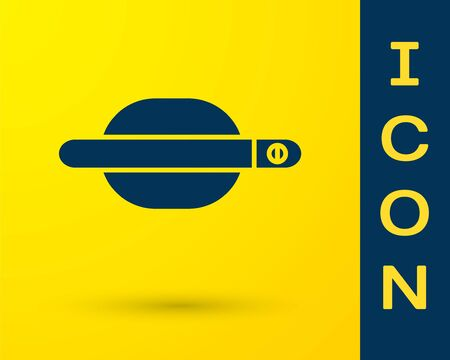 Blue Car door handle icon isolated on yellow background. Vector Illustration Standard-Bild - 138327711