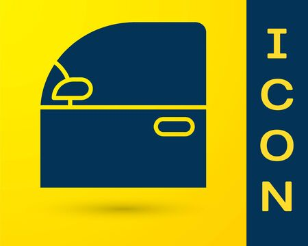 Blue Car door icon isolated on yellow background. Vector Illustration