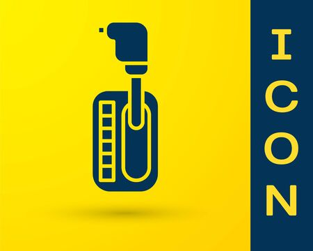 Blue Gear shifter icon isolated on yellow background. Transmission icon. Vector Illustration
