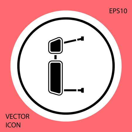 Black Truck side mirror icon isolated on red background. White circle button. Vector Illustration Ilustração