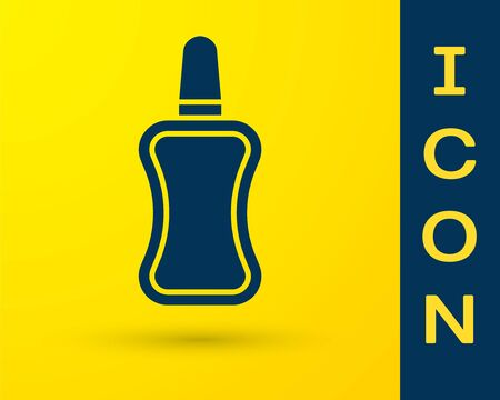 Blue Nail polish bottle icon isolated on yellow background. Vector Illustration