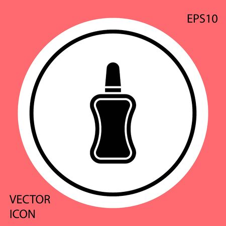 Black Nail polish bottle icon isolated on red background. White circle button. Vector Illustration Stock Illustratie