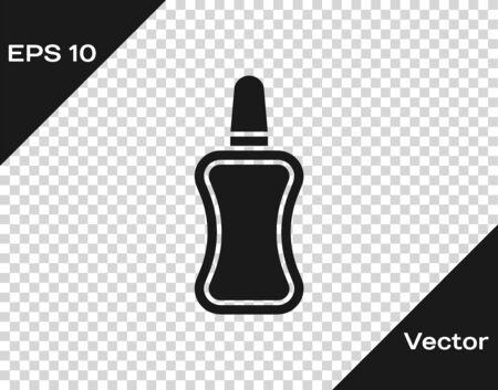 Grey Nail polish bottle icon isolated on transparent background. Vector Illustration