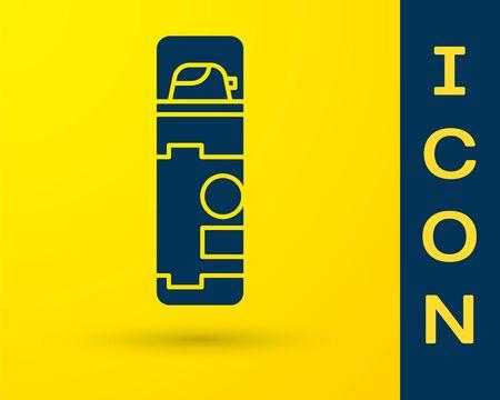 Blue Shaving gel foam icon isolated on yellow background. Shaving cream. Vector Illustration