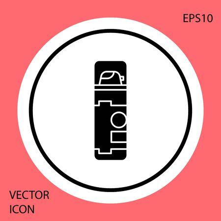 Black Shaving gel foam icon isolated on red background. Shaving cream. White circle button. Vector Illustration Illustration