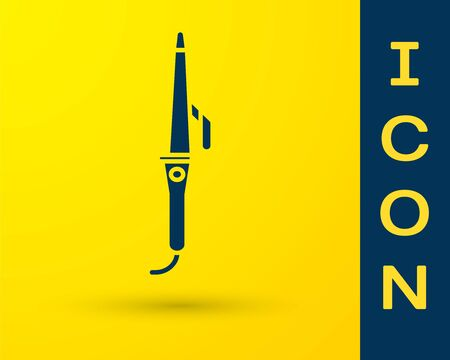 Blue Curling iron for hair icon isolated on yellow background. Hair straightener icon. Vector Illustration