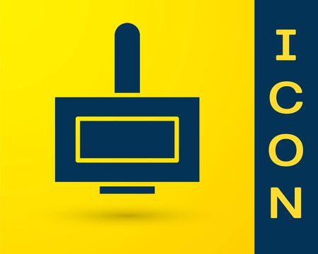 Blue Nail polish bottle icon isolated on yellow background. Vector Illustration
