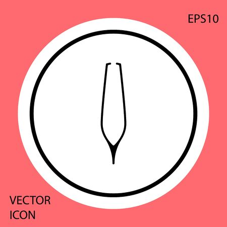 Black Eyebrow tweezers icon isolated on red background. Cosmetic tweezers for ingrown hair. White circle button. Vector Illustration