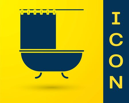Blue Bathtub with open shower curtain icon isolated on yellow background. Vector Illustration Ilustrace
