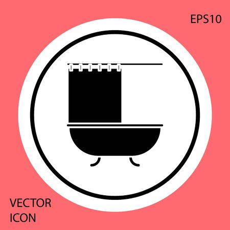 Black Bathtub with open shower curtain icon isolated on red background. White circle button. Vector Illustration