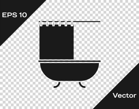 Grey Bathtub with open shower curtain icon isolated on transparent background. Vector Illustration