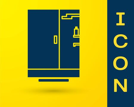 Blue Shower cabin icon isolated on yellow background. Vector Illustration
