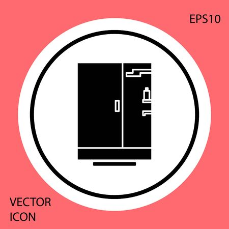 Black Shower cabin icon isolated on red background. White circle button. Vector Illustration Ilustrace