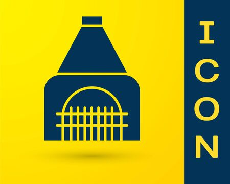 Blue Interior fireplace icon isolated on yellow background. Vector Illustration Banque d'images - 138330237