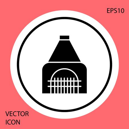 Black Interior fireplace icon isolated on red background. White circle button. Vector Illustration Banque d'images - 138330238