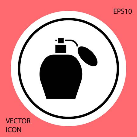 Black Perfume icon isolated on red background. White circle button. Vector Illustration