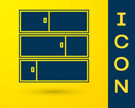Blue Shelf icon isolated on yellow background. Shelves sign. Vector Illustration