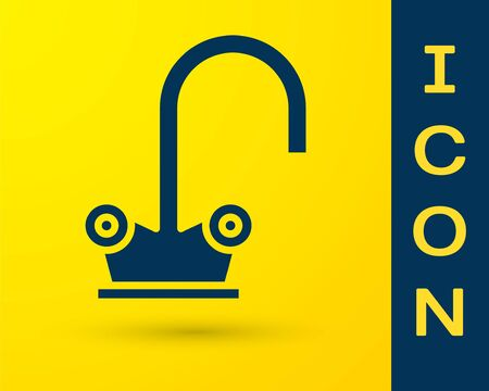 Blue Water tap icon isolated on yellow background. Vector Illustration