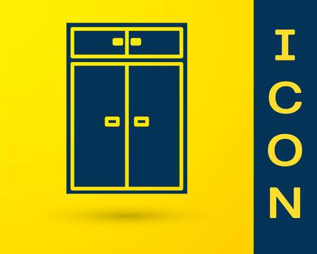 Blue Wardrobe icon isolated on yellow background. Vector Illustration