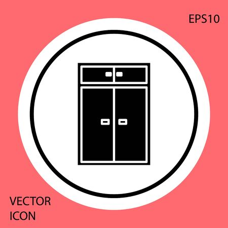 Black Wardrobe icon isolated on red background. White circle button. Vector Illustration Ilustração