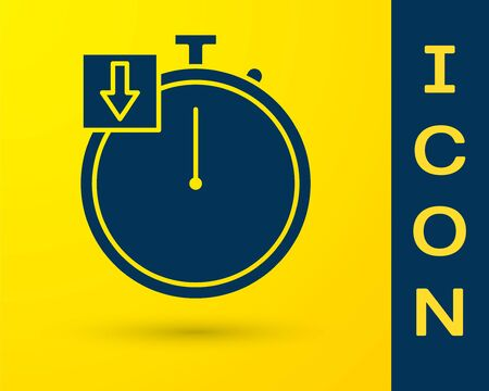 Blue Stopwatch icon isolated on yellow background. Time timer sign. Chronometer. Vector Illustration