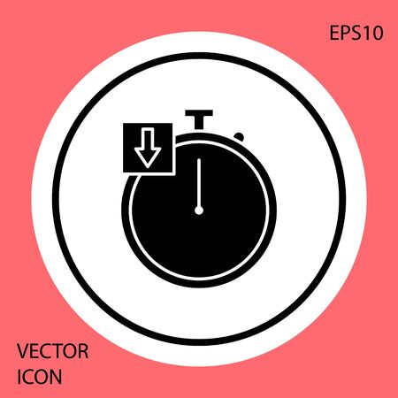 Black Stopwatch icon isolated on red background. Time timer sign. Chronometer. White circle button. Vector Illustration  イラスト・ベクター素材