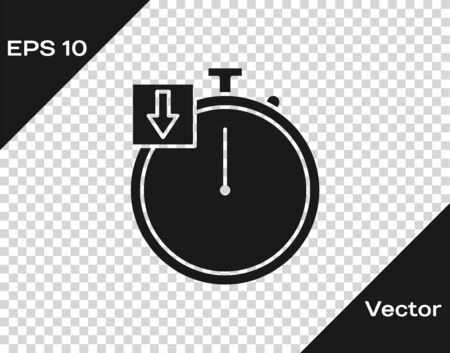 Grey Stopwatch icon isolated on transparent background. Time timer sign. Chronometer. Vector Illustration