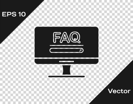Grey Computer monitor with text FAQ information icon isolated on transparent background. Frequently asked questions. Vector Illustration