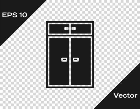 Grey Wardrobe icon isolated on transparent background. Vector Illustration