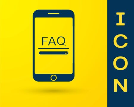 Blue Mobile phone with text FAQ information icon isolated on yellow background. Frequently asked questions. Vector Illustration