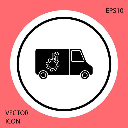 Black Car service icon isolated on red background. Repair service auto mechanic. Maintenance sign. White circle button. Vector Illustration Standard-Bild - 138331821