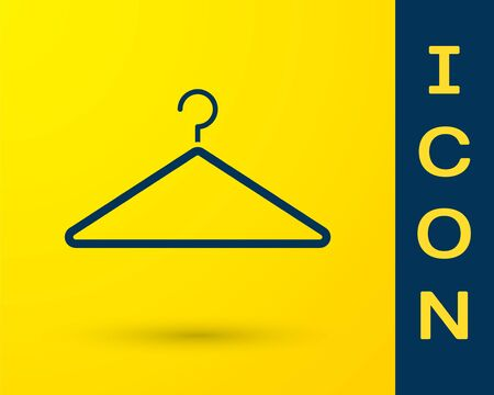 Blue Hanger wardrobe icon isolated on yellow background. Cloakroom icon. Clothes service symbol. Laundry hanger sign. Vector Illustration Illustration