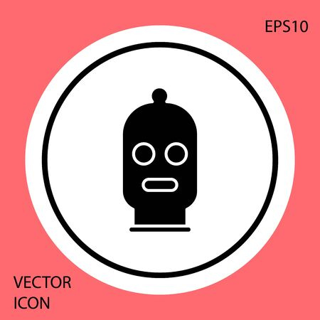 Black Balaclava icon isolated on red background. A piece of clothing for winter sports or a mask for a criminal or a thief. White circle button. Vector Illustration