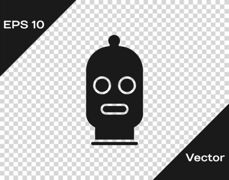 Grey Balaclava icon isolated on transparent background. A piece of clothing for winter sports or a mask for a criminal or a thief. Vector Illustration