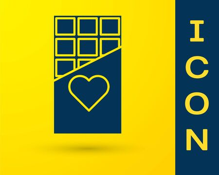 Blue Chocolate bar icon isolated on yellow background. Valentines day symbol. Vector Illustration