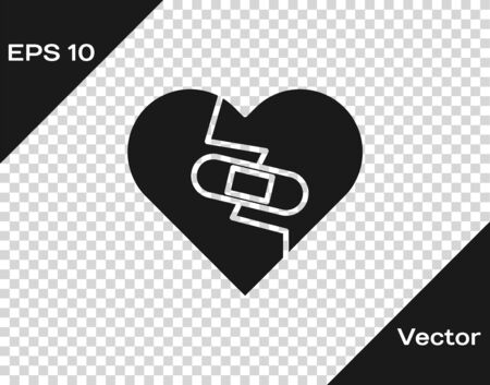 Grey Healed broken heart or divorce icon isolated on transparent background. Shattered and patched heart. Love symbol. Valentines day. Vector Illustration