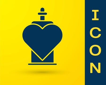Blue Bottle with love potion icon isolated on yellow background. Valentines day symbol. Vector Illustration 일러스트