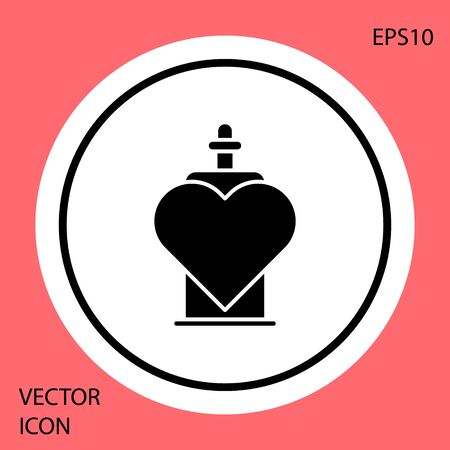 Black Bottle with love potion icon isolated on red background. Valentines day symbol. White circle button. Vector Illustration