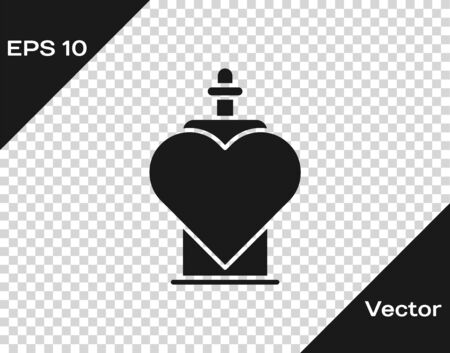Grey Bottle with love potion icon isolated on transparent background. Valentines day symbol. Vector Illustration