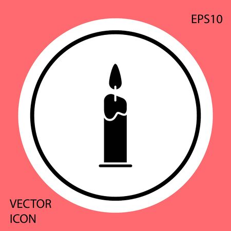 Black Burning candle in candlestick icon isolated on red background. Cylindrical candle stick with burning flame. White circle button. Vector Illustration