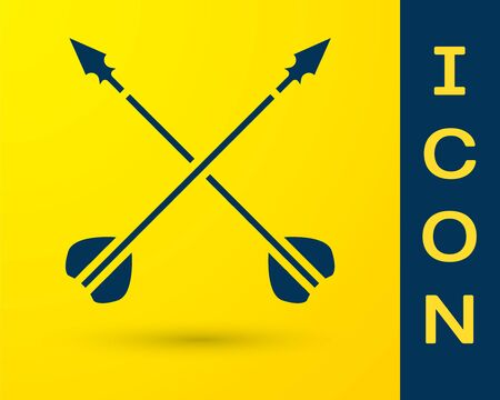 Blue Medieval crossed arrows icon isolated on yellow background. Medieval weapon. Vector Illustration Vektorové ilustrace