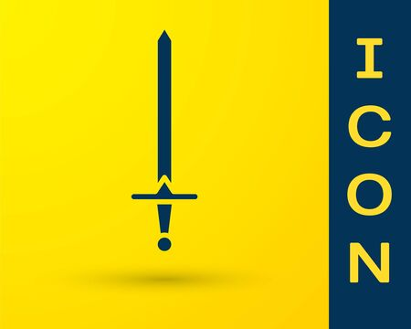 Blue Medieval sword icon isolated on yellow background. Medieval weapon. Vector Illustration