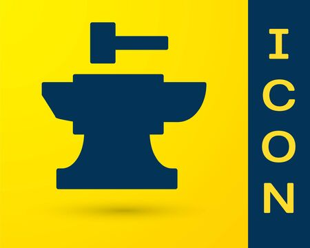 Blue Anvil for blacksmithing and hammer icon isolated on yellow background. Metal forging. Forge tool. Vector Illustration