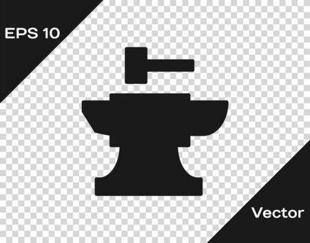 Grey Anvil for blacksmithing and hammer icon isolated on transparent background. Metal forging. Forge tool. Vector Illustration