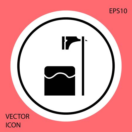 Black Executioner axe in tree block icon isolated on red background. Hangman, torturer, executor, tormentor, butcher, headsman. White circle button. Vector Illustration